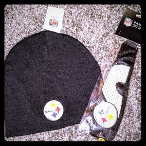Pittsburgh Steelers Knit Cap & Jersey Headband Set